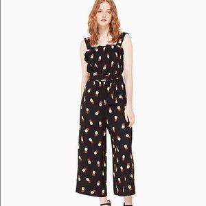 kate spade Pants - Kate Spade black pineapple print jumpsuit